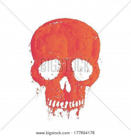 t-shirt print with painted skull over white