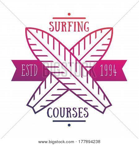 Surfing courses emblem, logo over white, vector illustration