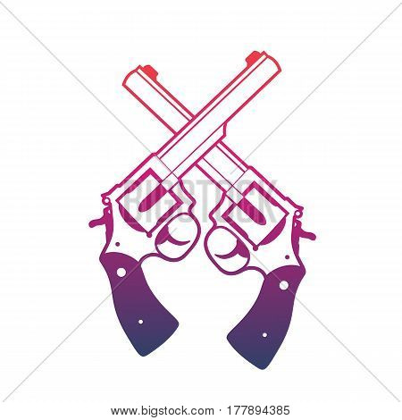 Revolvers, crossed handguns over white, vector illustration
