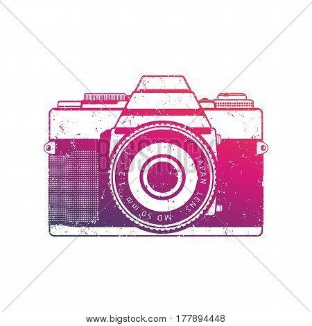 Retro camera vector, old analog slr over white