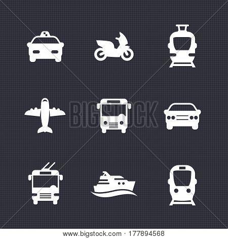 Passenger transport icons set, bus, subway, tram, train, taxi car, airplane, cab, ship