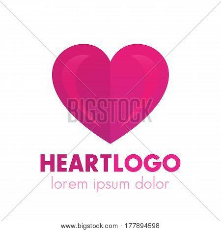 Heart logo design, pharmacy, medicine, health care symbol over white, vector illustration