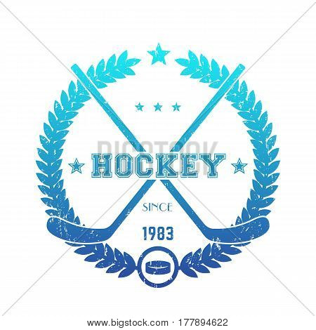 Hockey emblem, logo with crossed sticks, blue over white, grunge effect can be removed