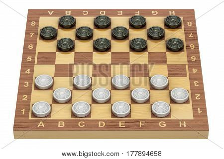 Checkers game board and pieces 3D rendering