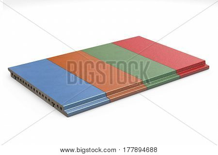 Terracotta glazed tiles for ventilated facade cladding isolated on white background. 3d illustration