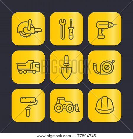 construction tools line icons set, trowel, wrench, drill, saw, paint roller, tape measure, hammer, vector illustration