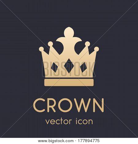 crown logo element, icon, gold on dark