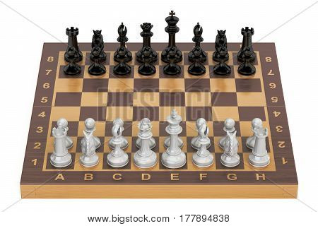 Chess board with figures top view. 3D rendering