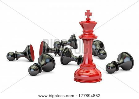 Chess victory and leader concept. 3D rendering