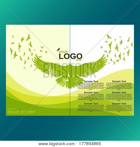 Green eco brochure, flyer, magazine cover, poster template. Modern vector leaf, environment design. Raven with double exposure effect background.