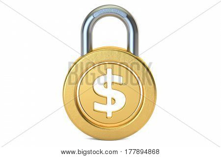 Dollar Padlock 3D rendering isolated on white background