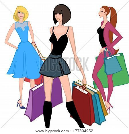 Set of Fasionable girls with shopping bags on white background. Shopper. Sales. Cartoon characters. Colorful vector illustration.