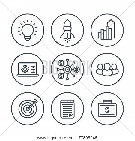 startup line icons in circles over white, product launch, funding, initial capital, contract, growth, target market