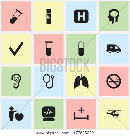 Set Of 16 Editable Health Icons. Includes Symbols Such As Stop Smoke, Drug, Emergency And More. Can Be Used For Web, Mobile, UI And Infographic Design.