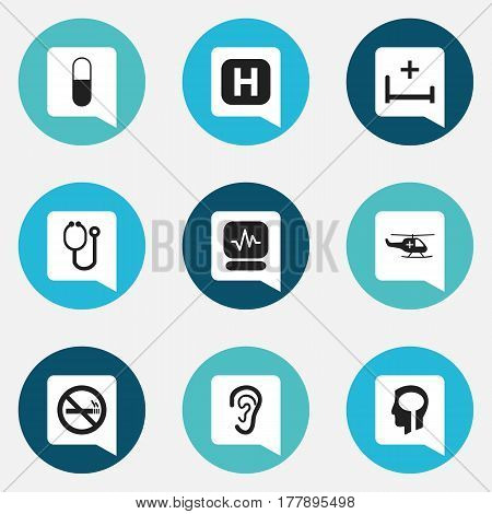 Set Of 9 Editable Care Icons. Includes Symbols Such As Intelligence, Pulse, Clinic Room And More. Can Be Used For Web, Mobile, UI And Infographic Design.