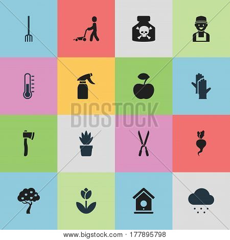 Set Of 16 Editable Farm Icons. Includes Symbols Such As Farmer, Working Gloves, Garden Scissors And More. Can Be Used For Web, Mobile, UI And Infographic Design.