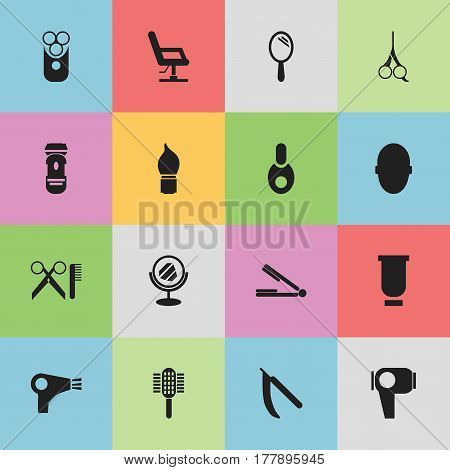 Set Of 16 Editable Barbershop Icons. Includes Symbols Such As Barber Tools, Charger, Vial And More. Can Be Used For Web, Mobile, UI And Infographic Design.