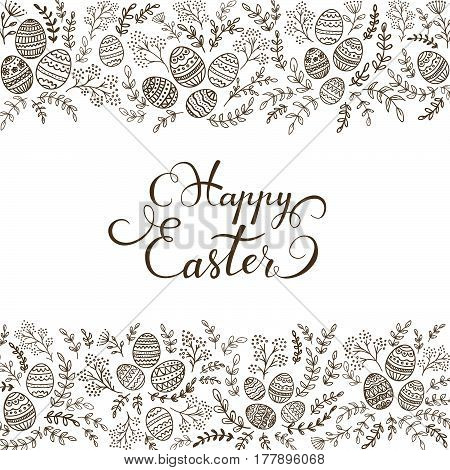 Easter eggs with black floral elements and lettering Happy Easter on white background, illustration.