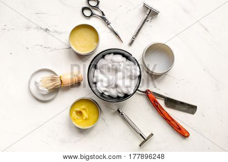 barbershop for men with tools for shaving on white table background top view poster
