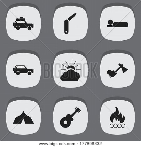 Set Of 9 Editable Trip Icons. Includes Symbols Such As Ax, Clasp-Knife, Sunrise And More. Can Be Used For Web, Mobile, UI And Infographic Design.