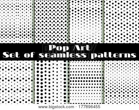 Dotted, Pop Art Seamless Pattern Background. Black White Color. Set Vector Illustration