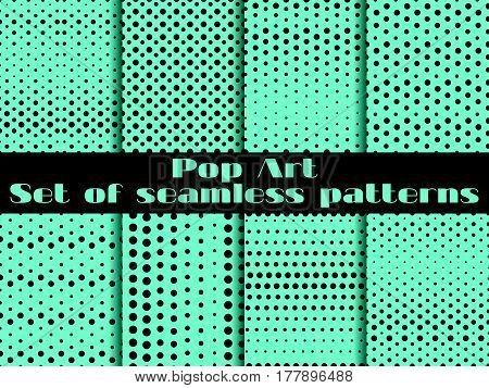 Dotted, Pop Art Seamless Pattern Background. Set Vector Illustration.
