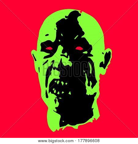 zombie face. horror picture. scary character. vector illustration