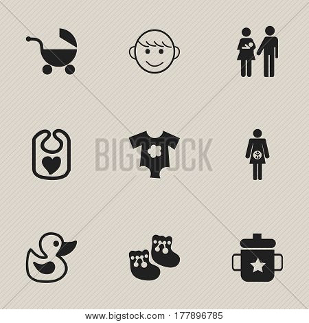 Set Of 9 Editable  Icons. Includes Symbols Such As Stroller, Merry Children, Goplet And More. Can Be Used For Web, Mobile, UI And Infographic Design.