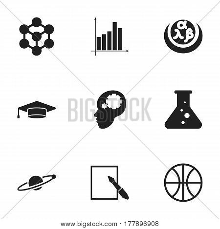 Set Of 9 Editable Education Icons. Includes Symbols Such As Molecule, Astrology, Greek Alphabet And More. Can Be Used For Web, Mobile, UI And Infographic Design.