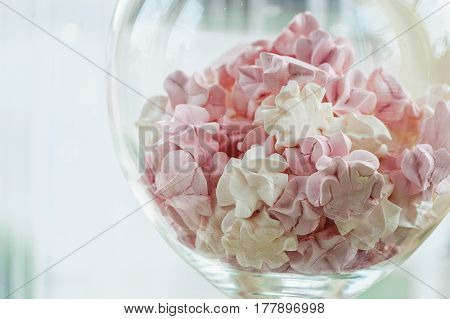 Color zephyrs in glass jar. Wedding cande bar. pink end white