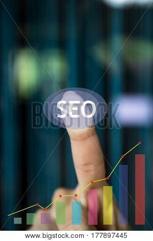 SEO icon. Graph of profit growth. SEO website online