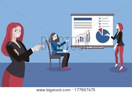 Business Conference Concept. Young business woman giving a class or lecture. Business Conference concept.