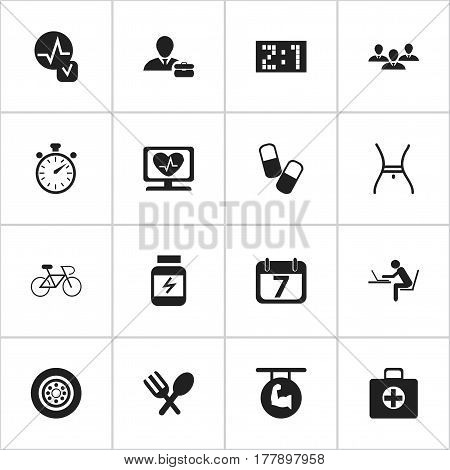 Set Of 16 Editable Complicated Icons. Includes Symbols Such As Velocipede, Result, Biceps And More. Can Be Used For Web, Mobile, UI And Infographic Design.