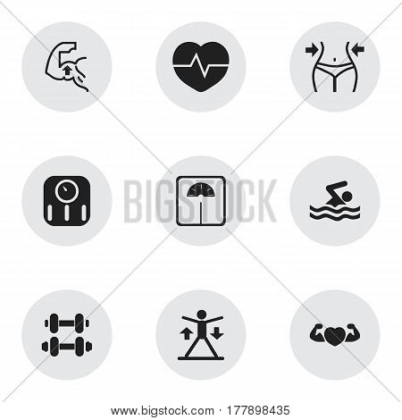 Set Of 9 Editable Training Icons. Includes Symbols Such As Heartbeat, Slimming, Scales And More. Can Be Used For Web, Mobile, UI And Infographic Design.