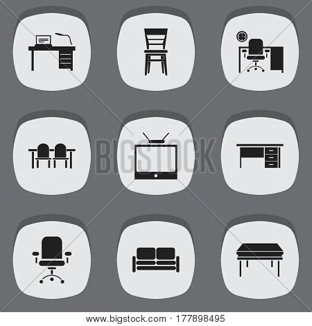 Set Of 9 Editable Furniture Icons. Includes Symbols Such As Trestle, Ergonomic Seat, Television And More. Can Be Used For Web, Mobile, UI And Infographic Design.