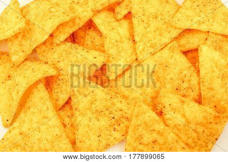 many Mexican nachos tortilla chips background texture