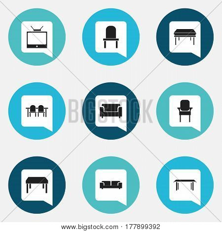 Set Of 9 Editable Interior Icons. Includes Symbols Such As Restaurant Table, Trestle, Television And More. Can Be Used For Web, Mobile, UI And Infographic Design.