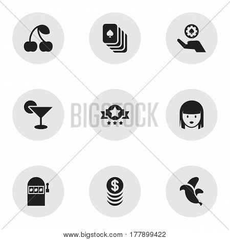 Set Of 9 Editable Business Icons. Includes Symbols Such As Poker Money, Jackpot, Jungle Fruit And More. Can Be Used For Web, Mobile, UI And Infographic Design.