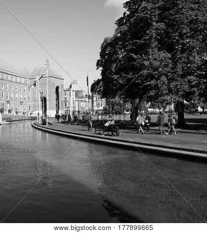 City Hall In Bristol In Black And White
