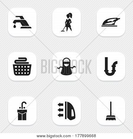 Set Of 9 Editable Cleanup Icons. Includes Symbols Such As Faucet, Steam, Sink And More. Can Be Used For Web, Mobile, UI And Infographic Design.