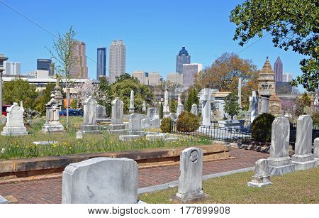 ATLANTA, GA - MAR 15, 2017 Oakland Cemetery, established in the 1800s as Atlanta or City Cemetery, offers history and a view of downtown Atlanta.