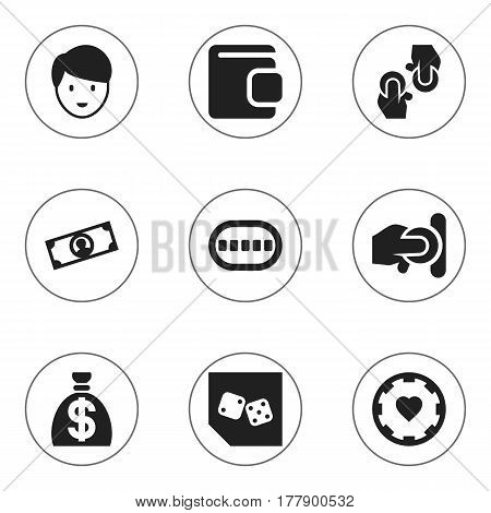 Set Of 9 Editable Casino Icons. Includes Symbols Such As Billfold, Dice, Poker Deck And More. Can Be Used For Web, Mobile, UI And Infographic Design.