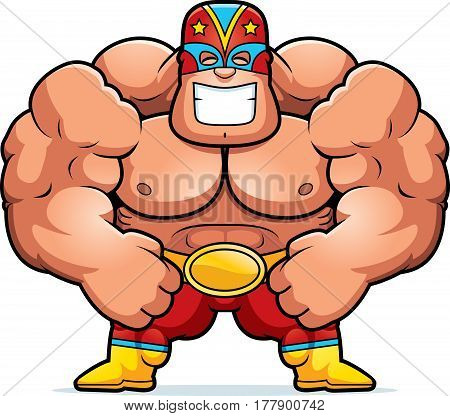Cartoon Luchador Flexing