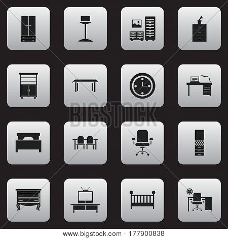 Set Of 16 Editable Furniture Icons. Includes Symbols Such As Bed, Restaurant Table, Child Cot And More. Can Be Used For Web, Mobile, UI And Infographic Design.
