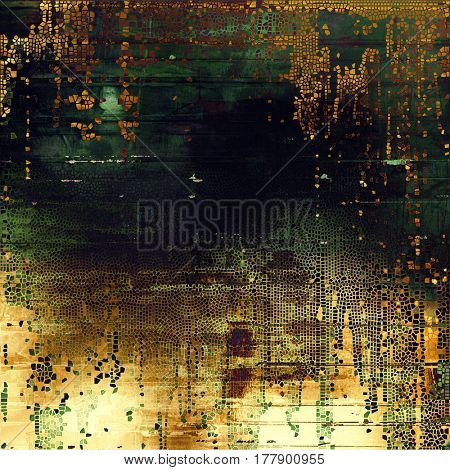 Old style design, textured grunge background with different color patterns: yellow (beige); brown; green; gray; purple (violet); black
