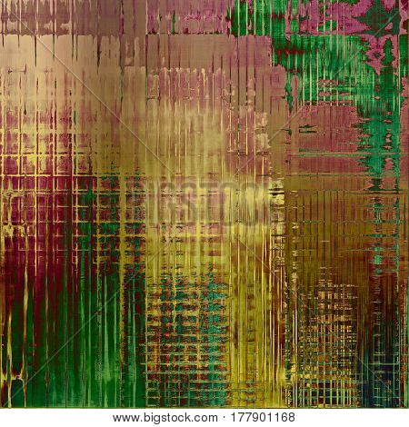 Colorful vintage background, grunge texture with scratches, stains and different color patterns: yellow (beige); brown; green; red (orange); purple (violet); pink