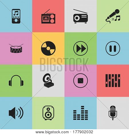 Set Of 16 Editable Mp3 Icons. Includes Symbols Such As Break Music, Media Fm, Phonograph And More. Can Be Used For Web, Mobile, UI And Infographic Design.