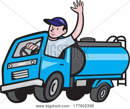 Illustration of a 4 wheeler baby tanker truck petrol tanker with driver waving hello on isolated white background done in cartoon style.