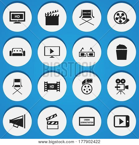 Set Of 16 Editable Filming Icons. Includes Symbols Such As Loudspeaker, 3D Vision, Theater Agency And More. Can Be Used For Web, Mobile, UI And Infographic Design.
