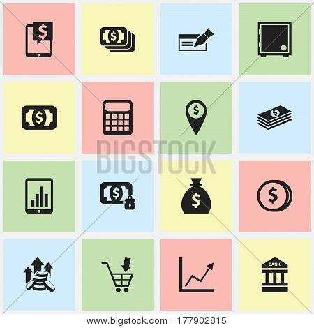 Set Of 16 Editable Investment Icons. Includes Symbols Such As Shopping Pushcart, Bar Graph, Currency And More. Can Be Used For Web, Mobile, UI And Infographic Design.